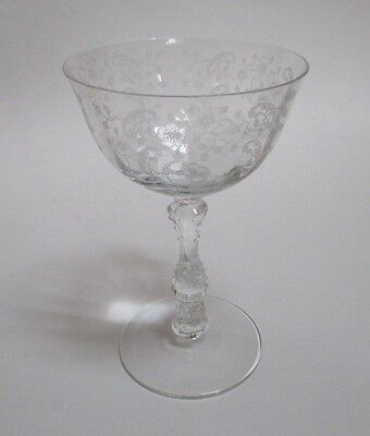 Fostoria Crystal Meadow Rose Etched Tall Champagne Sherbet Glass s 5 5/8""