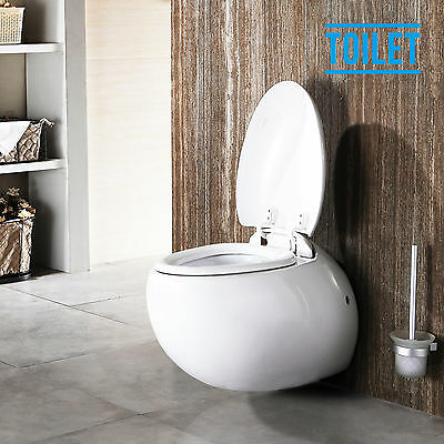 Wall Hung Concealed Cistern Toilet Bathroom Soft Close Cover WC Pan Ceramic