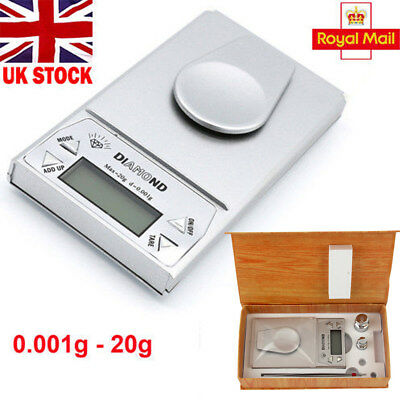 0.001g - 20g 1mg  Electronic Digital Jewelry Gold Mini Pocket Weighing Scales UK