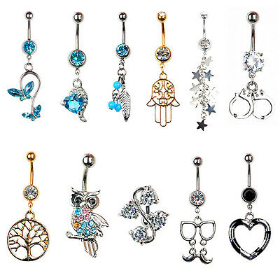 New Navel Belly Ring Rhinestone Button Bar Barbell Body Piercing Jewelry