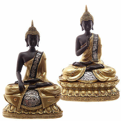 Thai Buddha Seated Gold Brown Crackled Glass Mosaic Ornament Buddhist Meditation