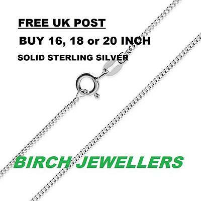 Sterling Silver 925 Curb Chain Solid Necklace 1mm 16/18/20/22/24inch Pendant New