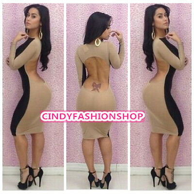 New Sexy Women Back Open Backless Long Sleeve Bodycon Bandage Cocktail Dress