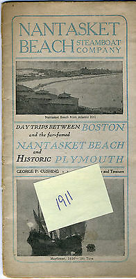 1911 NANTASKET BEACH Steamboat Co. Brochure - Day Trips to Hull & Plymouth