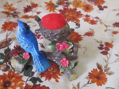Sweet victorian reproduction pin cushion holder blue bird sewing sweet display