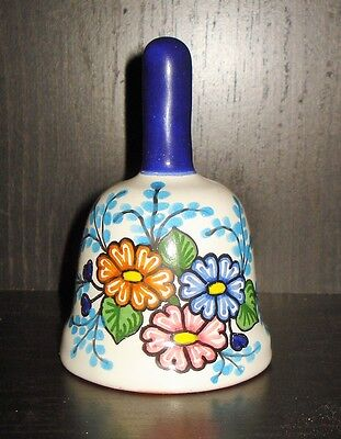 VINTAGE MEXICAN TALAVERA BELL FIGURINE BEAUTIFUL FLOWERY PATTERN MEXICO