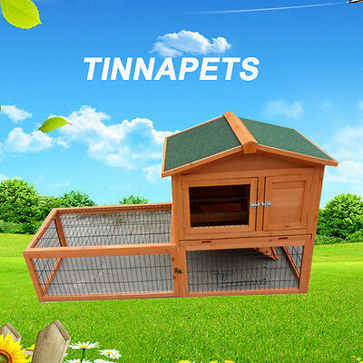 Large Rabbit Hutch 150*60*90cm Two Storey Guinea Pig House Ferret Cage RUN P028