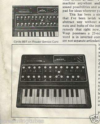 Vintage WASP Synthesizer Electronic Dream Plant Limited Review Print Ad