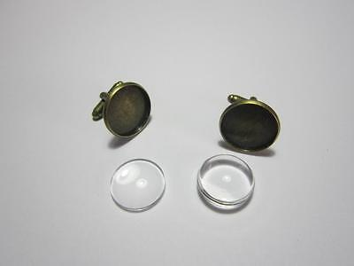 1 Pair Antique Bronze Cuff Links settings with matching 18 mm glass cabochons