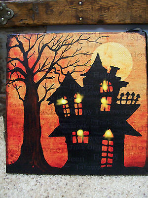 NWT Witches Haunted House HAPPY HALLOWEEN Trick Treat  LED LIGHT Wood WALL SIGN
