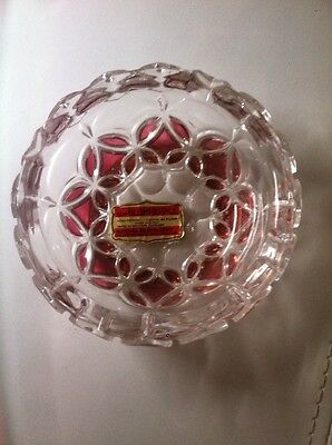Echt Bleikristall Round Crystal Over 24% Ashtray Made in Germany Ruby Red Accent