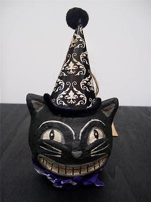 """NWT 5.25"""" Black & White Smiling Black Cat HEAD in Witch Hat Halloween Ornament"""