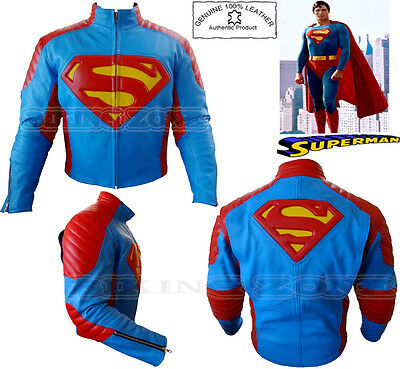 Superman Style Armour Mens Motorbike / Motorcycle Cowhide Leather Jacket