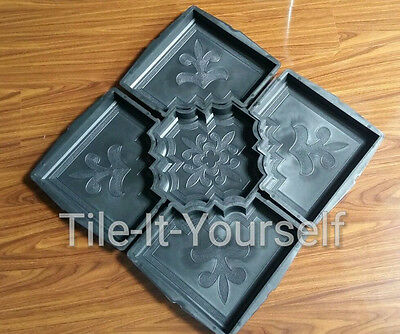 Set of 5 interlocking concrete plastic garden mould driveway patio pathmaker