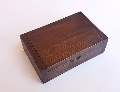 Vintage Teak Wood WoodenTrinket Box Storage Jewelry Name Card