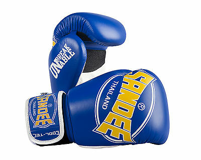 Sandee Cool-Tec Muay Thai Leather Boxing Gloves -Blue/Yellow10oz-16oz