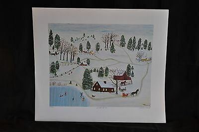 Snow Scene Original Lithograph by Mother Kimbrough 230/500 Signed and Numbered