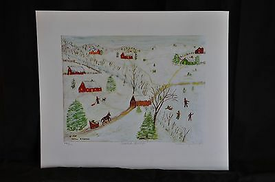 Snow Scene Original Lithograph by Mother Kimbrough 489/500 Signed and Numbered