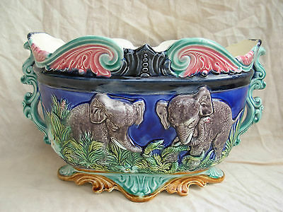 ANTIQUE FRENCH MAJOLICA JARDINIERE,ONNAING,ELEPHANT PATTERN,LATE 19th CENTURY