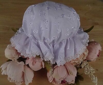 Baby WHITE Broderie Anglaise Lace Trim Mop Summer Hat Lined One Size approx 0-6m