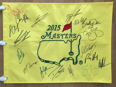 2015 Multi Signed Augusta Masters Golf Flag Autograph AFTAL COA Palmer Willett