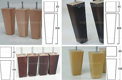4x WOODEN FURNITURE LEGS/FEET MAHOGANY NATURAL BLACK - SOFA, CHAIRS, SETTEES M8