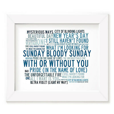 `Crystalline` U2 Art Print Typography Song Lyrics Signed & Numbered Mini Poster