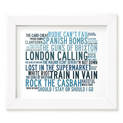 `Crystalline` THE CLASH Art Print Typography Song Lyrics Signed Numbered Poster