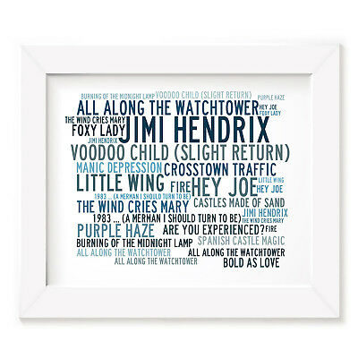 `Crystalline` JIMI HENDRIX Art Print Typography Song Lyrics Signed Mini Poster