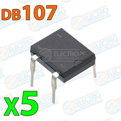 5x Puente rectificador DB107 1A 1000v DIP4 electronica pcb pic