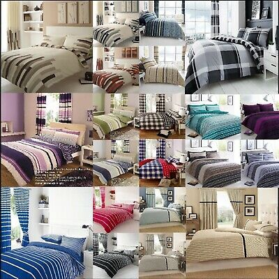 Texture Stripe Block And Strip Check Duvet Cover With Pillow Cases Or Curtains
