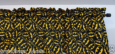 Batman Logo on Black Curtain Valance 100% Cotton