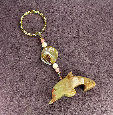 DOLPHIN SOAPSTONE KEY CHAIN Totem Sea Shells Ring Gold Porpoise Ocean Fish