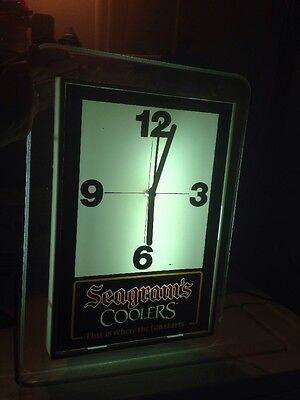 Vintage Seagram's Coolers Bar This Is Where The Fun Starts Light up Clock WORKS