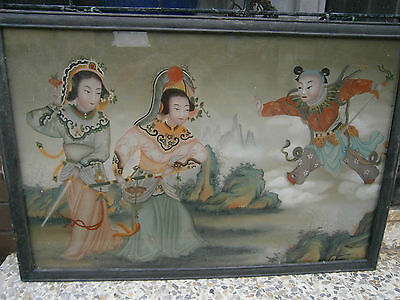 Large Pair Of ( 2 ) Chinese Reverse Paintings On Glass Best Hand Painted Superb