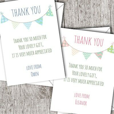 Personalised Thank You Cards (Postcards) ~ Christening ~ Baby Girl/Boy ~ Bunting