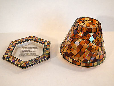 PartyLite GLOBAL FUSION Decorative Shade & Tray, NIB, Mosaic, Candle Holder