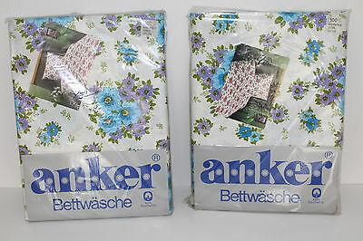 70er Bettwäsche PRILBLUMEN 2 Garnituren DOPPELBETT 70s VTG Fabric sheets STOFF