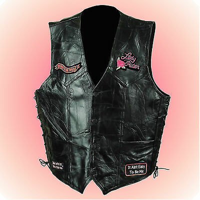 LADY RIDER-Motorcycle Vest-PATCHES-Size Extra Large --A Vest with Attitude!!