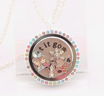 Frozen Movie Floating Locket inc Plate & 5 Charms 8 Pcs Living Memory Olaf Elsa