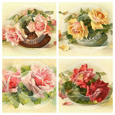4 x Vintage Flowers Postcard Image Reproduction Prints 3 x 5 Inches 01020306