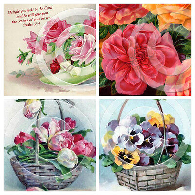 4 x Vintage Flowers Postcard Image Reproduction Prints 3 x 5 Inches 04050708