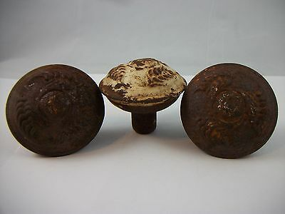 3 Antique c1900 Ornate Wrought Steel Door Knobs VTG Handles Victorian Hardware