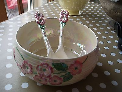 Beautiful Maling apple blossom fruit/salad bowl with serving spoons