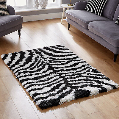 Wildlife Zebra Animal Print In Small - Extra Large Black White Thick Shaggy Rugs