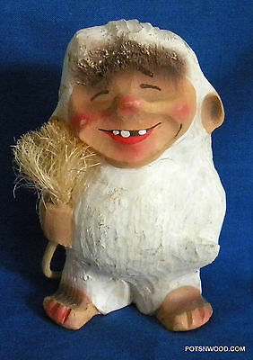 Vintage NORWEGIAN TRADITIONAL GNOME - TROLL with TAIL FIGURE HAND CARVED NORWAY