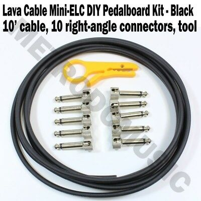 Lava Cable Mini ELC Solder-Free Pedal Board Kit Right-Angle 10 Plugs LCPBKTR NEW