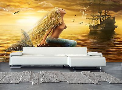 Mermaid and Sunset Wall Mural Photo Wallpaper GIANT WALL DECOR Paper Poster