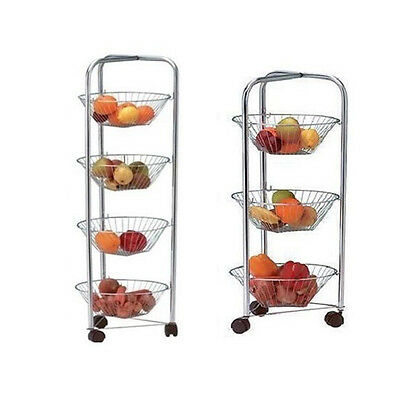 3 & 4 Tier Chrome Plated Kitchen Fruit Cart Vegetable Trolley Storage Stand Rack