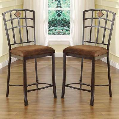 "Tavio Set of 2 Counter Height  24""H Dining Chairs Island Stool Metal Frame Brown"